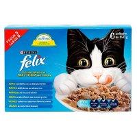 Alimento húmeda para gato Felix adulto sabores surtidos x 6 precio especial