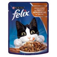 Alimento húmedo para Gatos Felix pavo y menudencias en salsa x 85 gr
