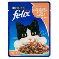Alimento húmedo para Gatos Felix salmón y pavo en salsa x 85 gr