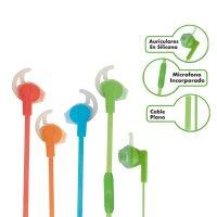 Audífonos Manos Libres Colores Cable Plano Colores Fluorescentes