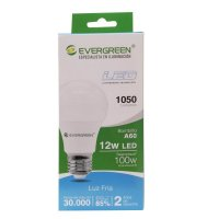 Bombillo Led A60 12W E27 1050Lm Luz Fría Evergreen