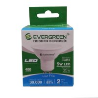 Bombillo Led Gu10 5W 400Lm Luz Fría Evergreen