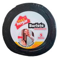 Burlete Autoadhesivo Puertas Ventanas Negro x5m