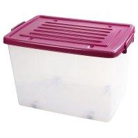 Caja Plástica 100Lt con Ruedas Transparente Color Burdeos