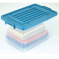 Caja Plástica 81 Litros Con Ruedas Transparente Tapa Azul