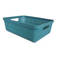 Canasto Organizador Closet Simil Lino 3l Azul