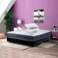 Combo Colchón Blue Restek 140X190 + Somier Plus Tipo Cuero Negro + 2 Almo Económica+Prot Impermeable