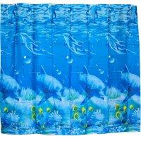 Cortina Impermeable 200 cm x 180 cm Delfín Azul Baño Poliéster