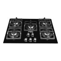 Estufa de Empotrar ABBA Master Chef CG501V5SN N 5 Puestos Gas Natural 76cm Parrilla Cuadrada Negro