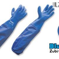 "Guantes Semicorrugados Uso Industrial Color Azul 23.62"" (60Cm), Con Manga ""Blue Pvc Long"" Talla 10"