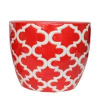Maceta Ceramica Arabescos Roja Mediana 22X18