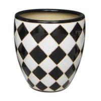 Maceta Ceramica Arlequin Blanco Negro Mediana 22X23