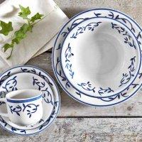 Set 30 Piezas Vajilla Ceramica Handpainted Flores Azul
