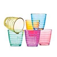 Set 6 Vasos Bajos Lineas 255Ml Color