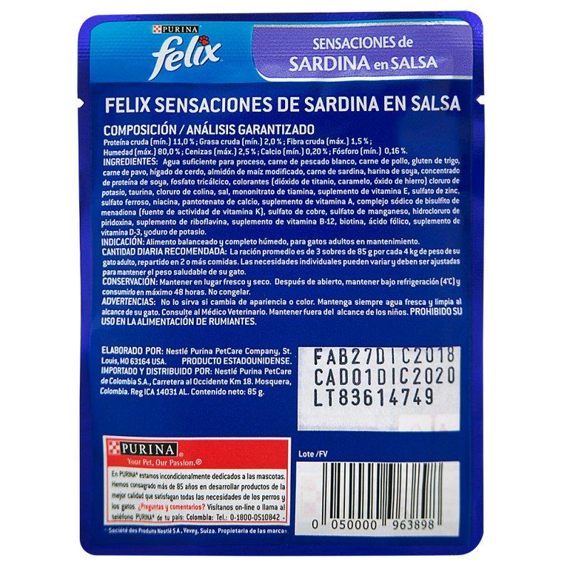 Alimento Húmedo Gatos Adultos Sensaciones Sardinas Salsa x85g