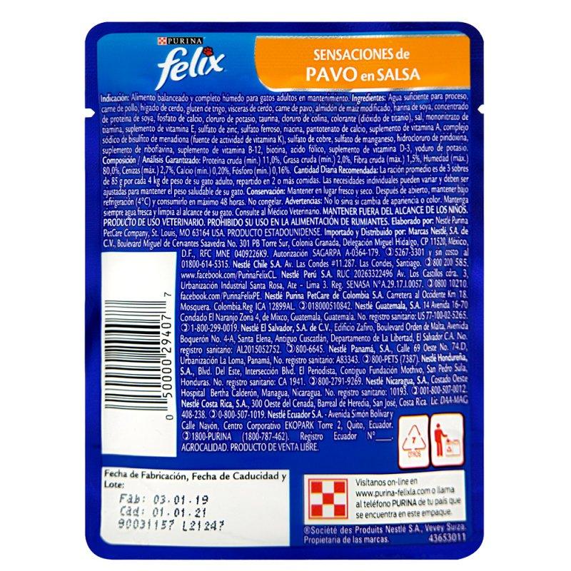 Alimento húmedo para Gatos Felix pavo en salsa x 85 gr