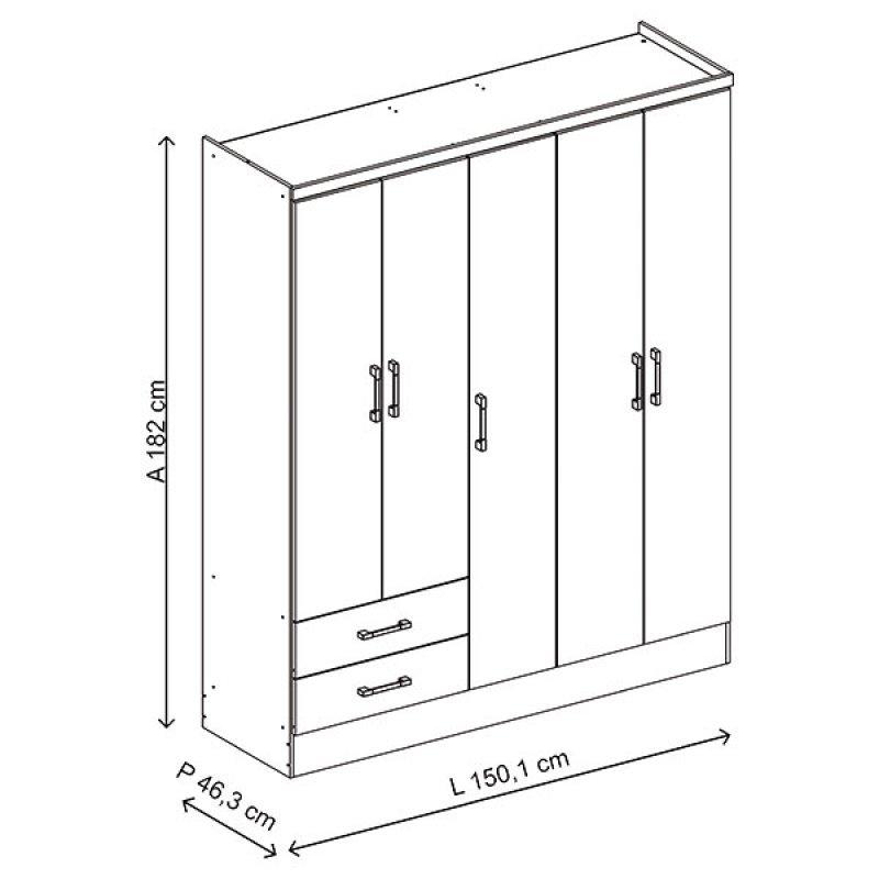 Armario 5 Puertas 2 Cajones 150x182x47 cm Ébano