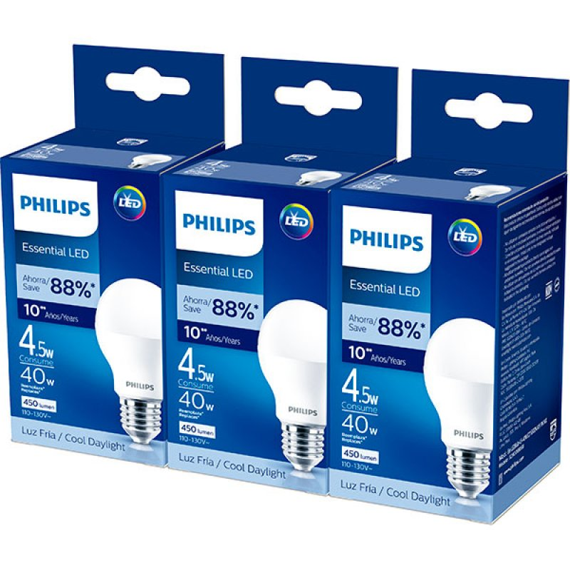 Bombillo Led 4.5W 480 Lúmenes Luz Fría Philips Pack x3