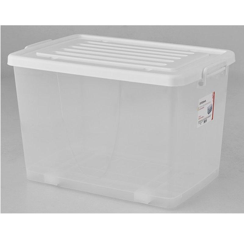 Caja Plástica 100 Lts con Ruedas Translúcida Color Blanca