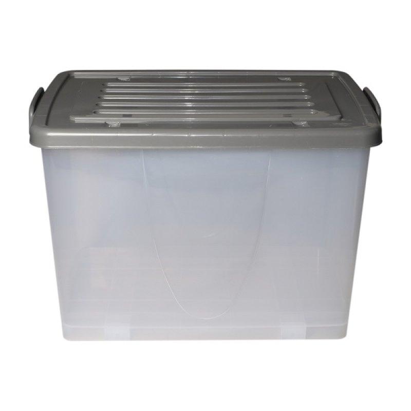 Caja Plástica 100Lt con Ruedas, Transparente Color Gris.