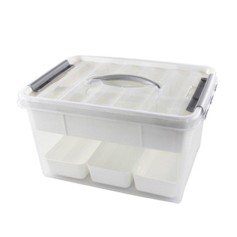 Caja Plástica 15 Litros Con Organizador Interiores