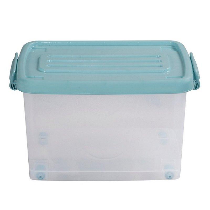 Caja Plástica 25 Litros Con Ruedas Transparente Tapa Azul