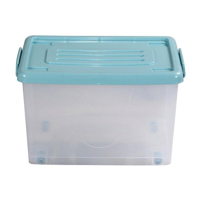 Caja Plástica 37 Litros Con Ruedas Transparente Tapa Azul