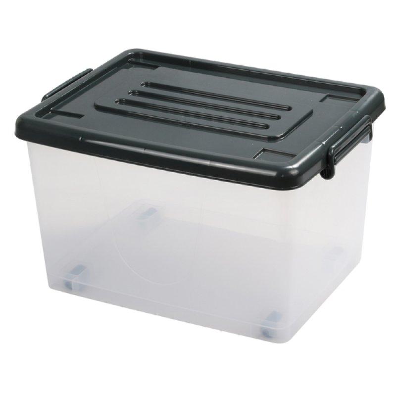 Caja Plástica 37Lt con Ruedas Transparente Color Gris.