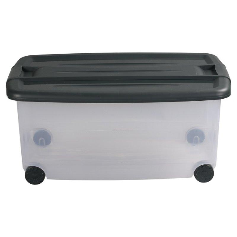 Caja Plástica 61Lt con Ruedas Transparente Color Gris.