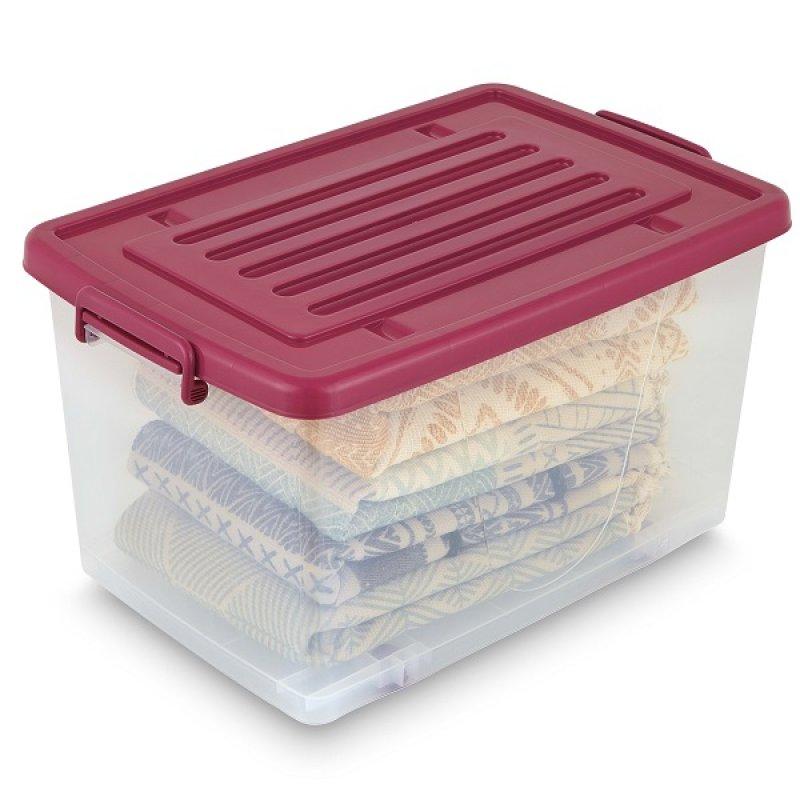 Caja Plástica 81Lt con Ruedas Transparente Color Burdeos