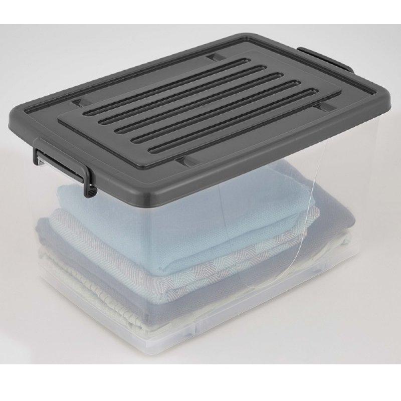 Caja Plástica 81Lt con Ruedas Transparente Color Gris