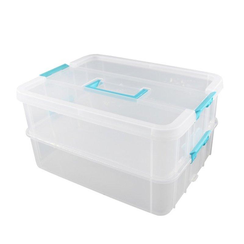 Caja Plástica Mediana Con Divisiones Azul