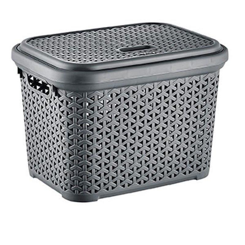 Caja Plastica Simil Rattan L 30 Lt Gris