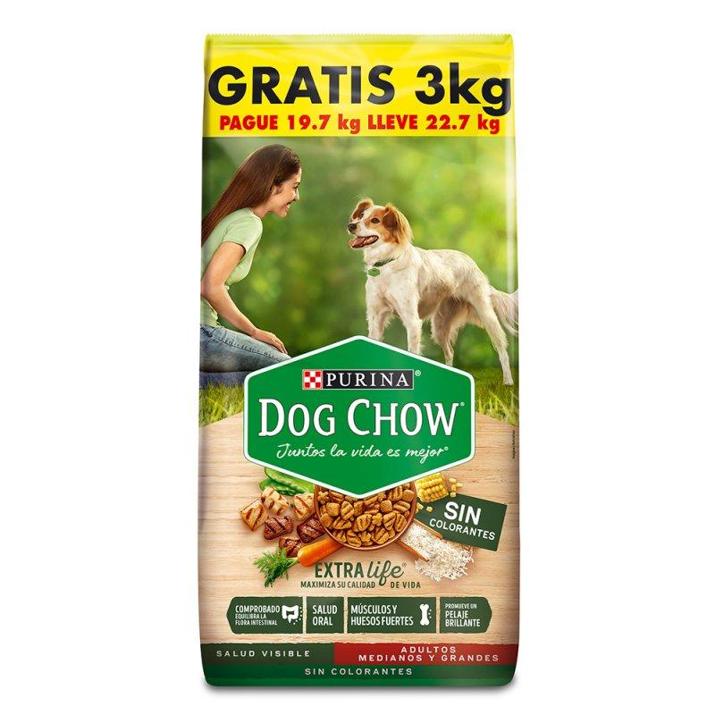 Comida para perro Dog Chow Adulto sin colorantes medianos y grandes x 22,7 kg precio especial