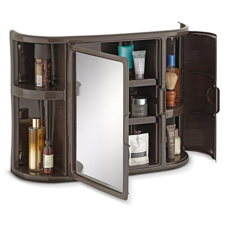 Gabinete Baño con Espejo 3 Espacios Wengue