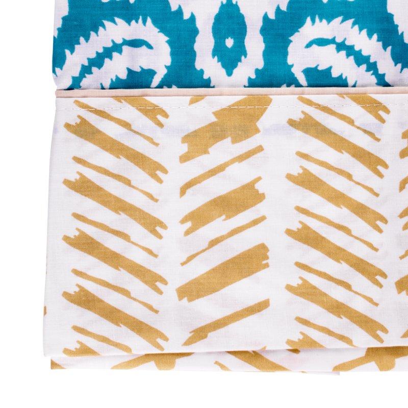 Juego Cama Doble 190 cm x 260 cm Tribal Blue Algodón Poliéster 150Hi