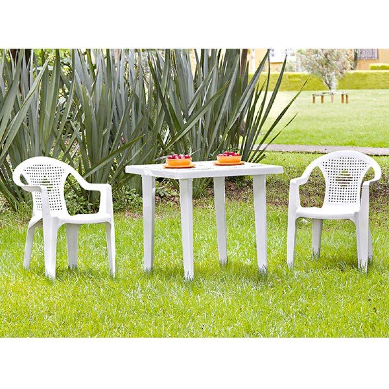 Kit Mesa Cuadrada Blanca En Plástico: 75X75cm con 4 Sillas Con Brazos Azalea Vanyplas