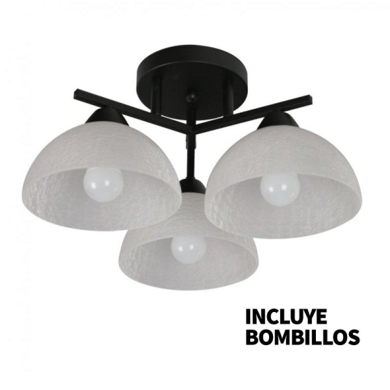 Lámpara de Techo Negro Copa 3 Luces 27 Bombillo Incluido