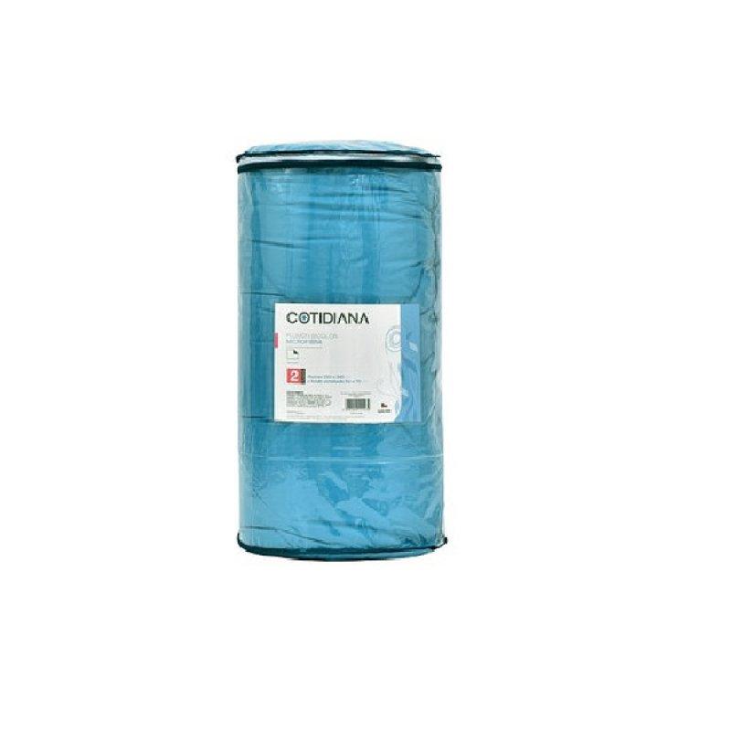 Plumón Sintetico Liso Doble Azul
