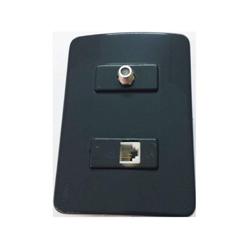 Salida Coaxial + Tomacorriente Teléfono Ultra Negro