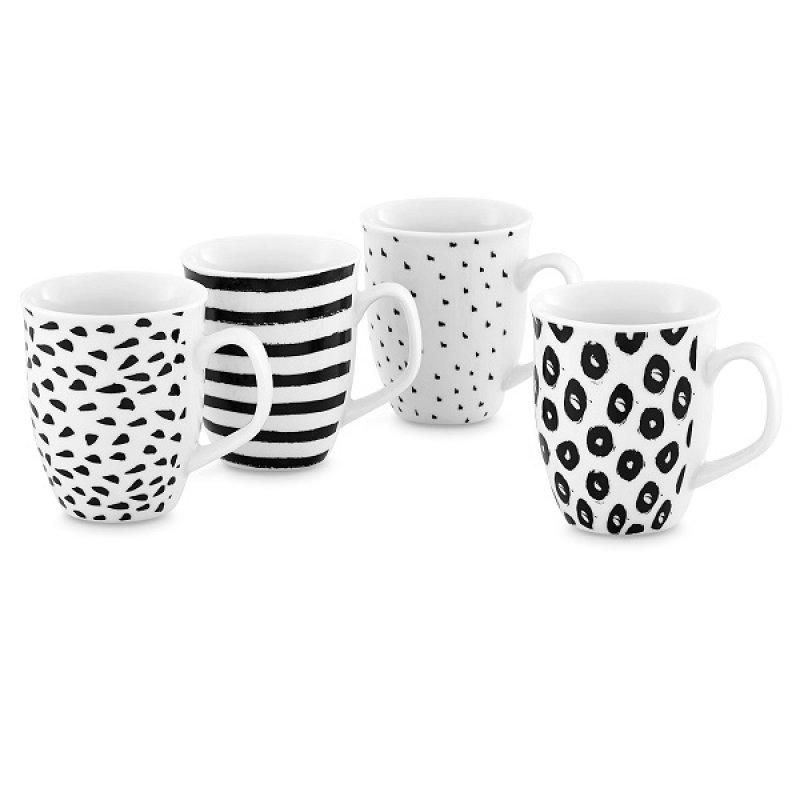 Set 4 Porcelana Mugs Black & White