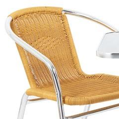Silla Con Brazos En Aluminio Rattan Natural