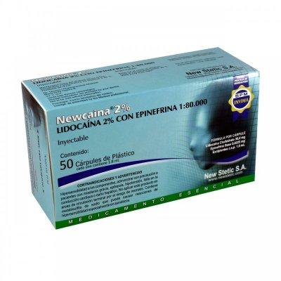 Newcaina® Lidocaina 2% con Epinefrina 1:80000 Caja x 50 Cárpules Plásticos de 1.8 ml c/u